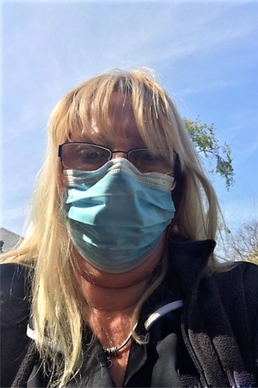 Fiona Gilbert wearing a mask
